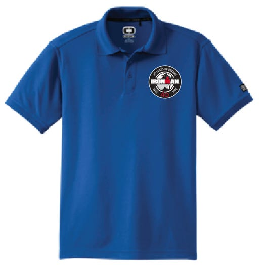 IRONMAN 40th Anniversary Men's Badge Polo- Blue