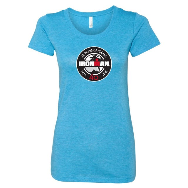 IRONMAN 40th Anniversary Women's Badge Tee- Aqua