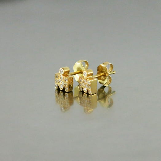 IRONMAN M-DOT YELLOW GOLD STUD EARRINGS WITH DIAMONDS