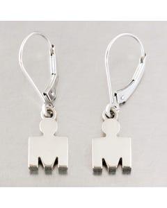 IRONMAN 14KT White Gold M-DOT Leverback Earrings