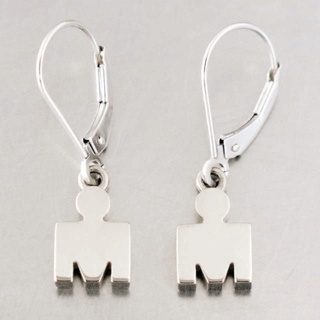 IRONMAN 14KT White Gold M-DOT Leverback Earrings