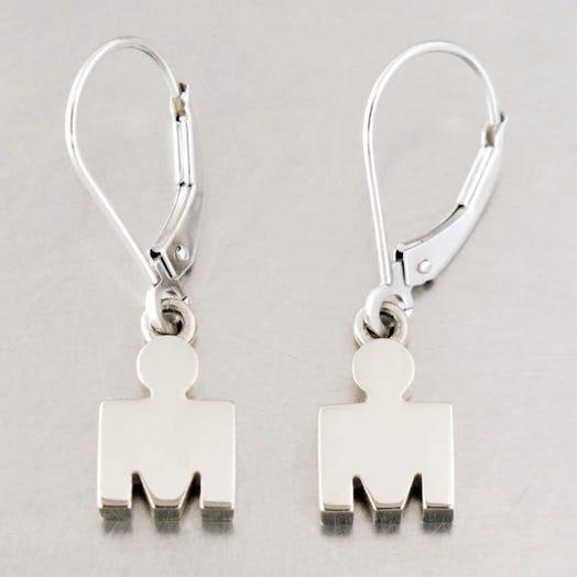 IRONMAN True Sterling Silver M-DOT Leverback Earrings