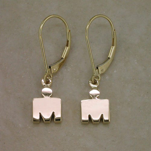 IRONMAN 14KT Yellow Gold M-DOT Leverback Earrings