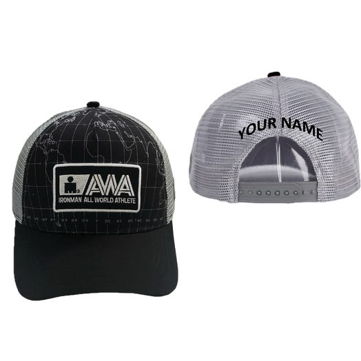 IRONMAN All World Athlete Personalized Technical Trucker Hat - Black/Grey
