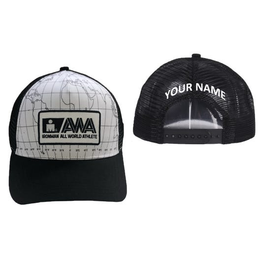 IRONMAN All World Athlete Personalized Technical Trucker Hat - White/Black