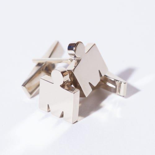 IRONMAN 14KT White Gold M-DOT Cufflinks