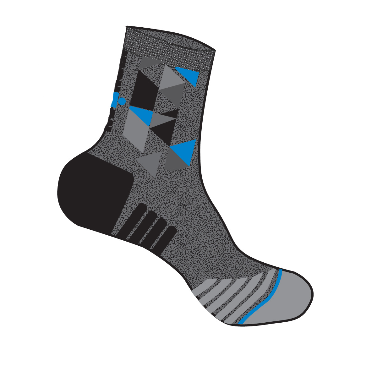 IRONMAN Cycle Sock - Heathered Grey Geo - Large