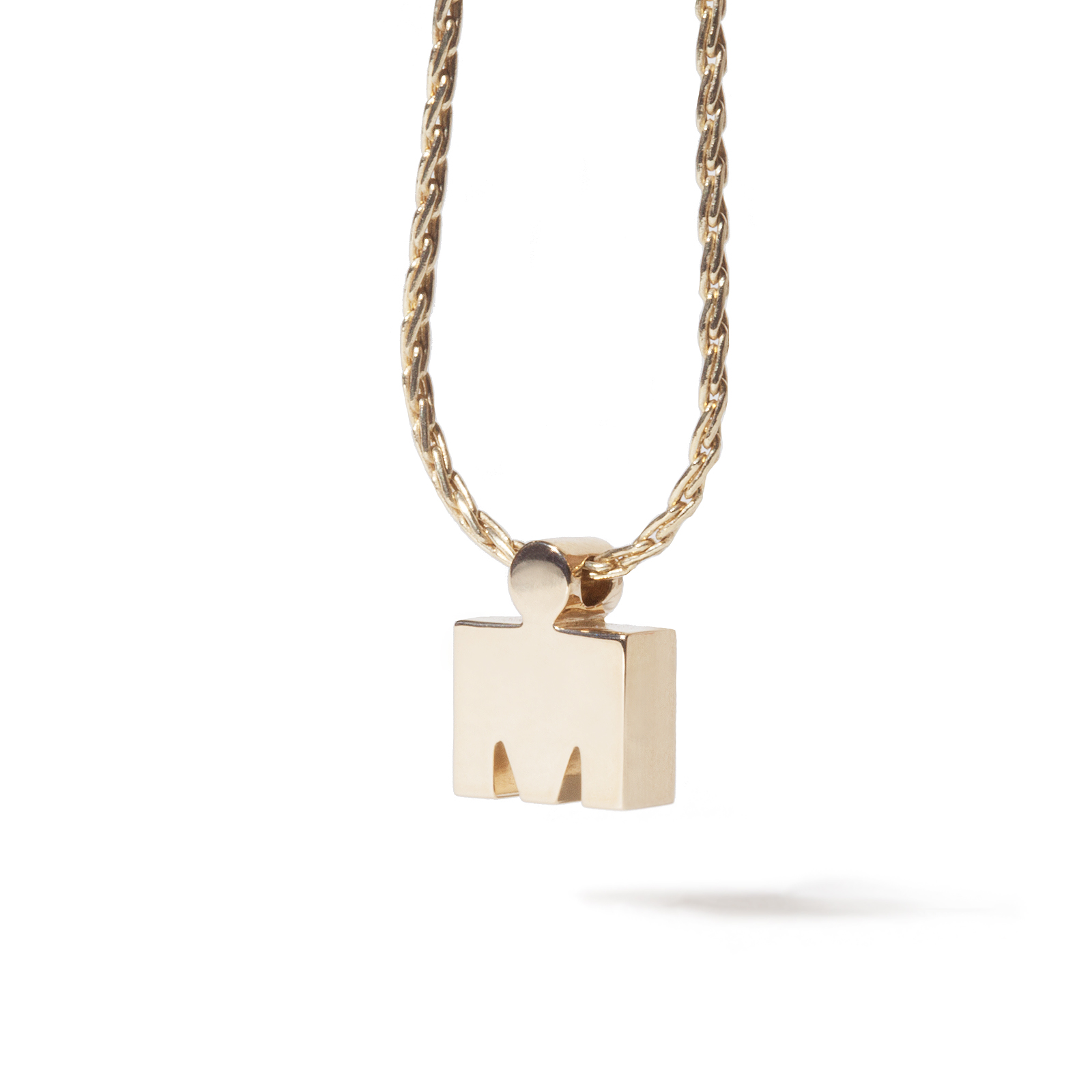 IRONMAN 14 KT Yellow Gold 3D M-DOT Pendant