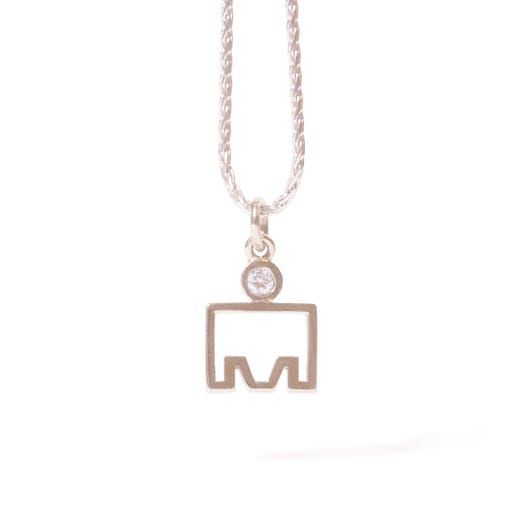 IRONMAN 14KT White Gold M-Dot Cut-Out Pendant with Diamonds
