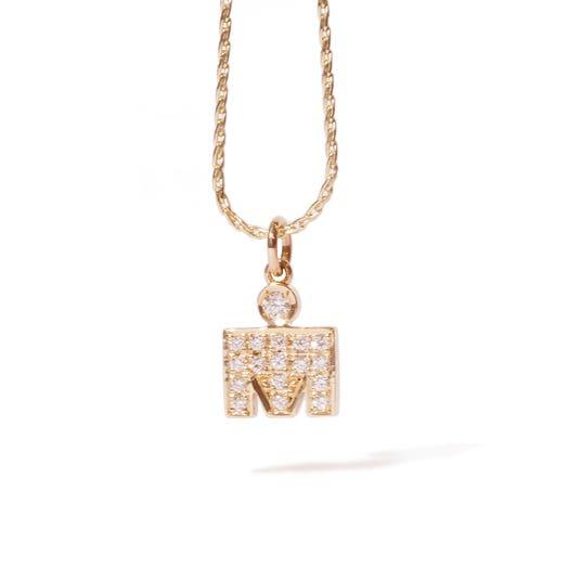 IRONMAN 14KT Yellow Gold M-Dot 11mm Pendant with Diamonds