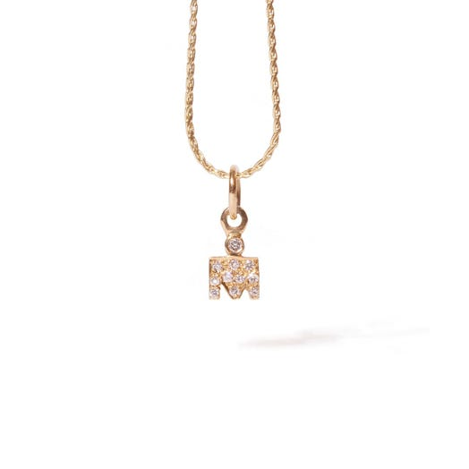 IRONMAN M-DOT YELLOW GOLD PENDANT WITH DIAMONDS