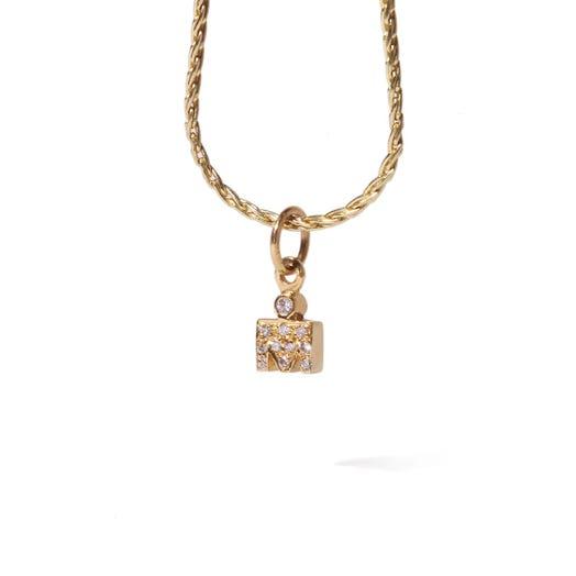 IRONMAN 14KT Yellow Gold M-Dot 7mm Pendant with Diamonds