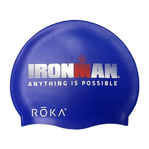 """IRONMAN ROKA """"Anything Is Possible""""  Silicone Swim Cap - Royal Blue"""