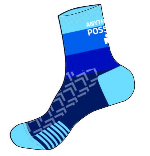 IRONMAN Anything is Possible Cycle Sock - Blue Gradient - Large