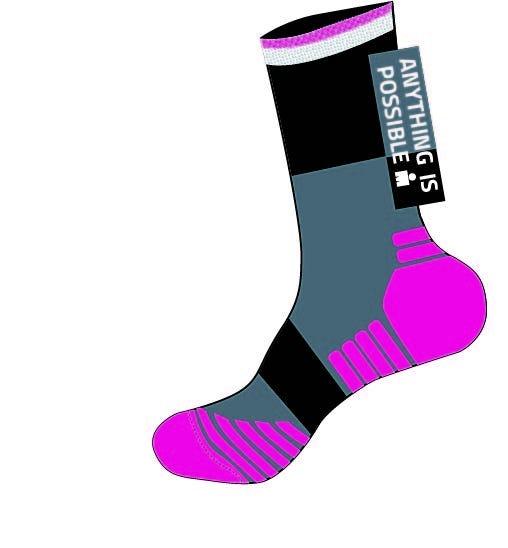 IRONMAN Anything is Possible Run Sock - Pink - Medium