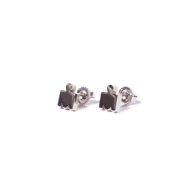 IRONMAN M-DOT Stud Earrings- 14KT White Gold