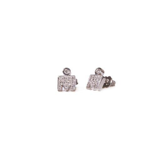 IRONMAN 14KT White Gold M-DOT Stud Earrings with Diamonds