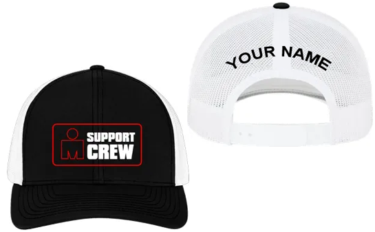 IRONMAN Support Crew Personalized Trucker Hat - Black/White