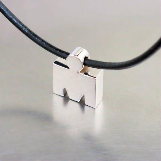 IRONMAN 14 KT White Gold 3D M-DOT Pendant