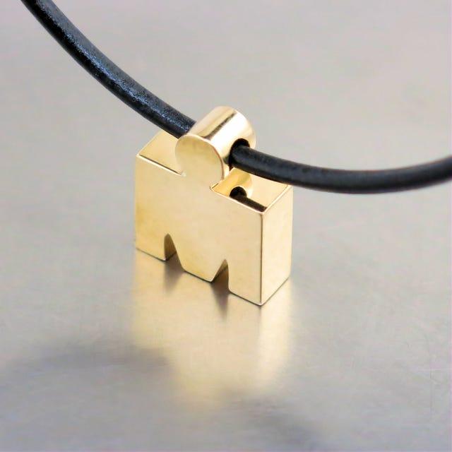 IRONMAN 14 KT Yellow Gold 3D M-DOT Pendant