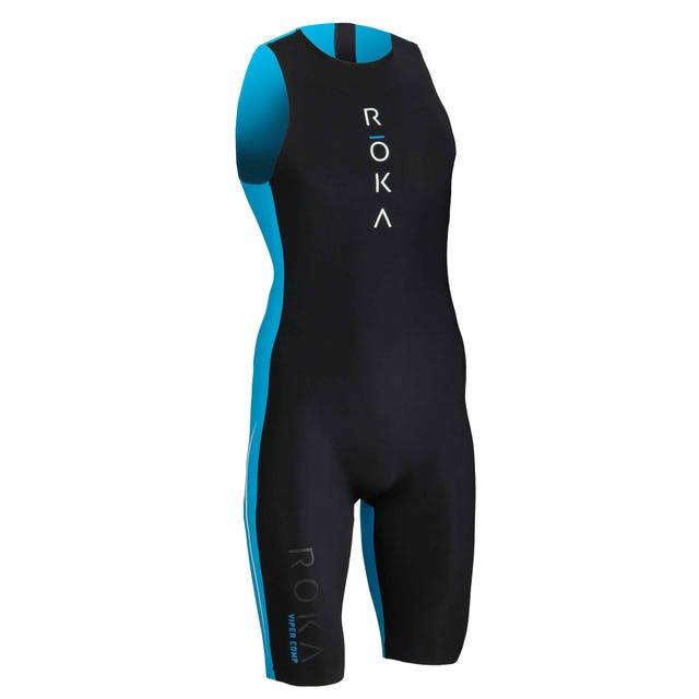 IRONMAN ROKA Men's Viper Comp Swimskin-Black/Cyan