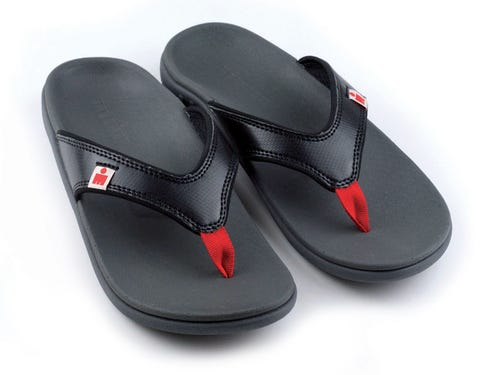 IRONMAN Men's HOA Sandals - Black with Rosso