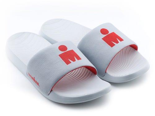 IRONMAN Men's Makai Slide Sandals - Light Grey with Rosso