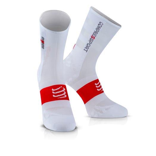 IRONMAN COMPRESSPORT Pro Racing Socks V3 Ultralight Bike - White