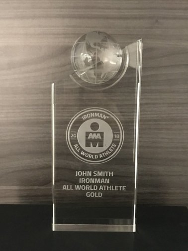 IRONMAN All World Athlete Crystal Custom Trophy - International Athletes