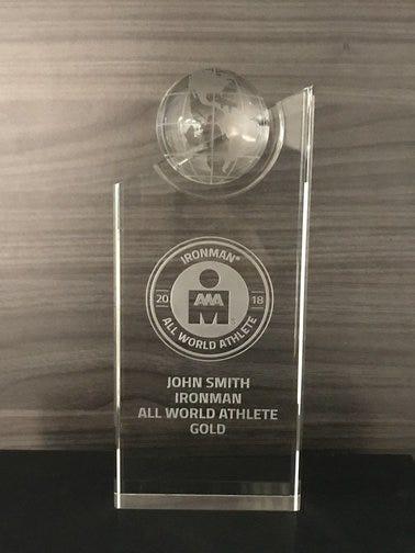 IRONMAN All World Athlete Crystal Custom Trophy - US Athletes