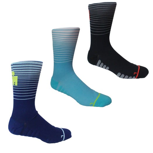 IRONMAN MDOT FADE RUN SOCK 3PK - BLUE - LARGE