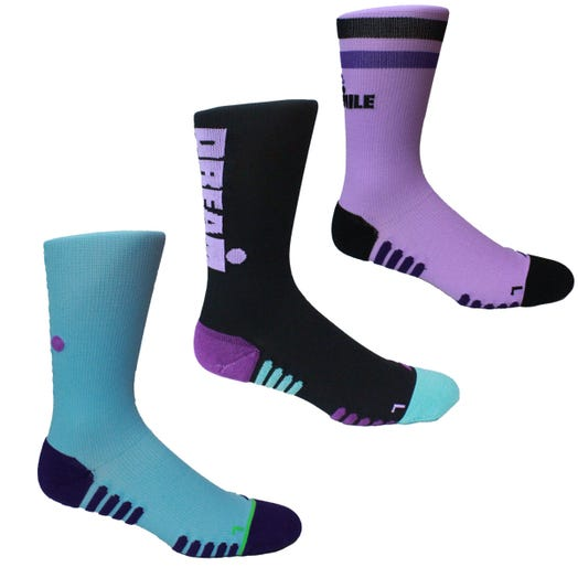 IRONMAN MANTRA RUN SOCK 3PK - PURPLE - MEDIUM