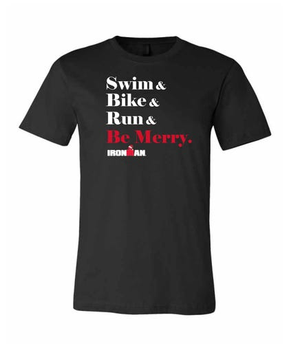 IRONMAN Men's SWIM BIKE RUN BE MERRY Tee - Black