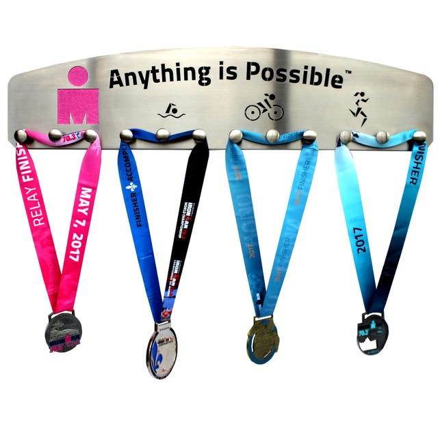 IRONMAN Stainless Steel Medal Hanger 12 knobs - Anything is Possible Pink