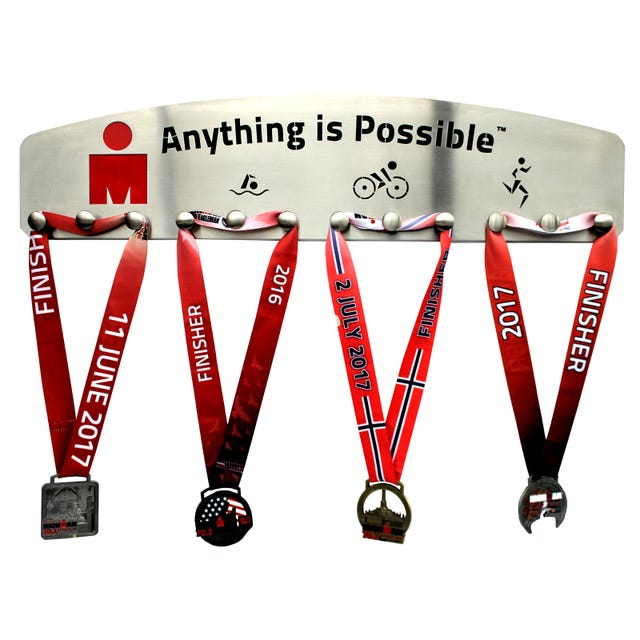IRONMAN Stainless Steel Medal Hanger 12 knobs - Anything is Possible Red