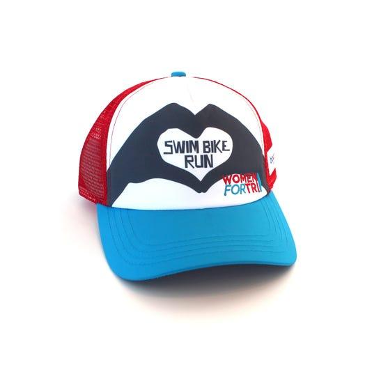 Women For Tri Swim, Bike, Run Heart Trucker Hat