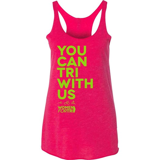 Women For Tri - You Can Tri with US Tank - Pink/Lime Green
