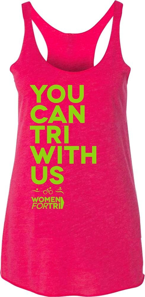 Women For Tri – You Can Tri with US Tank - Pink/Lime Green