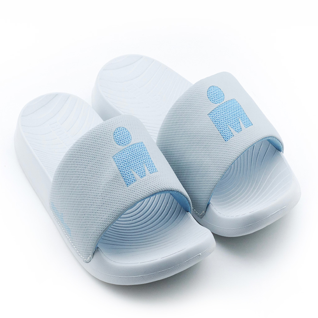 IRONMAN Women's Makai Slide Sandals - Light Grey with Sky Blue