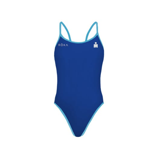 IRONMAN ROKA Women's One-Piece Triangle Back Swimsuit - Royal/Turquoise