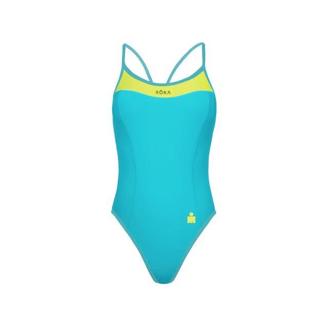 IRONMAN ROKA Women's One-Piece Triangle Back Swimsuit - Aqua/Acid Lime