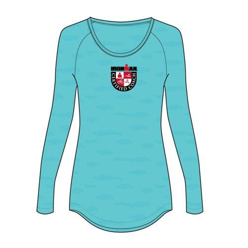 IRONMAN Women's Certified Coach Jewel Neck Long Sleeve - Turquoise
