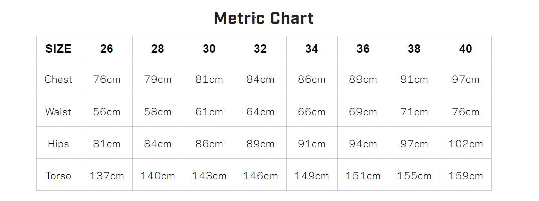 women's size chart - metric